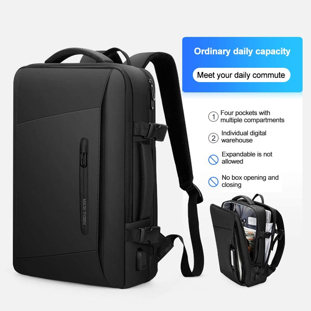 MARK RYDEN Portable Multi-Function Large Capacity Waterproof USB Business Backpack Business Trip Anti-Theft Laptop Bag Common Style No Expansion