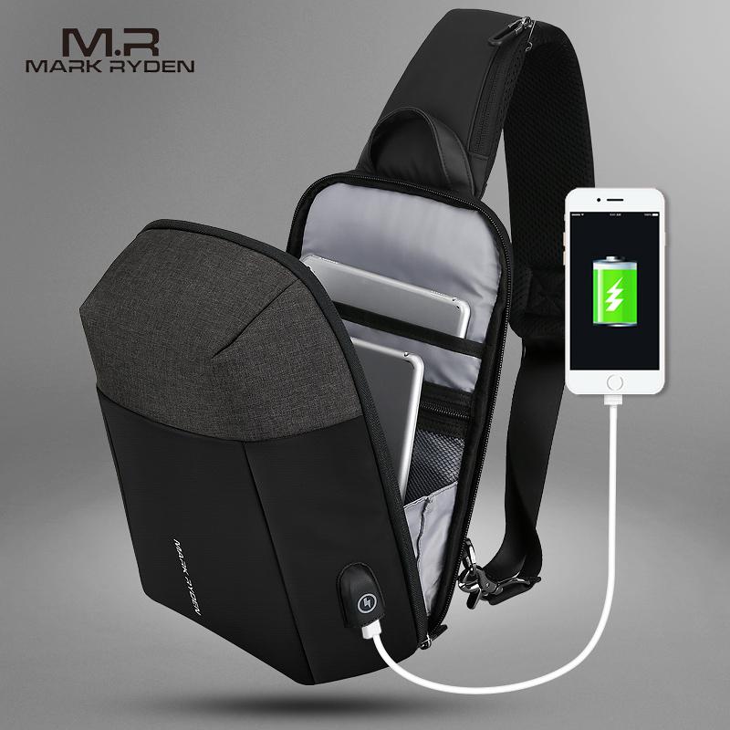 Mark Ryden 2020, летняя мужская сумка через плечо, USB подзарядка, нагрудная сумка, анти вор, мужская сумка на плечо