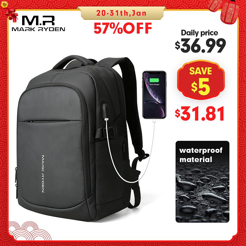 Mark Ryden 2020, мужской рюкзак, многофункциональный, водонепроницаемый, 15,6 дюймов, для ноутбука, многослойный, с карманами, сумка, мужская, usb зарядка, школьный рюкзак