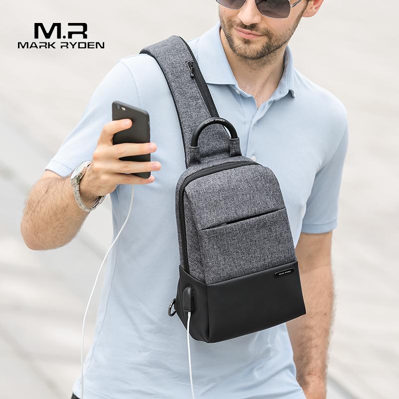 Mark Ryden многофункциональная сумка слинг, мужские сумки, водонепроницаемая сумка через плечо, зарядка через usb, мессенджеры, нагрудная сумка, мужская сумка на плечо on AliExpress