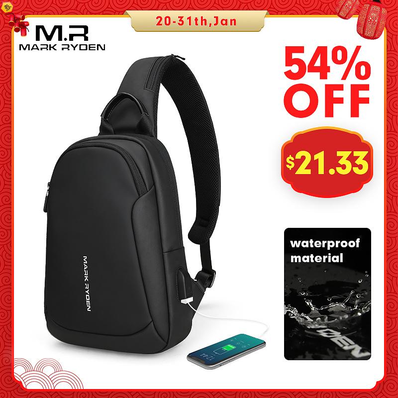 Mark Ryden, многофункциональные мужские сумки через плечо, водонепроницаемые, зарядка через usb, нагрудный пакет, Короткие походные мессенджеры, нагрудная сумка, сумка на плечо для мужчин on AliExpress