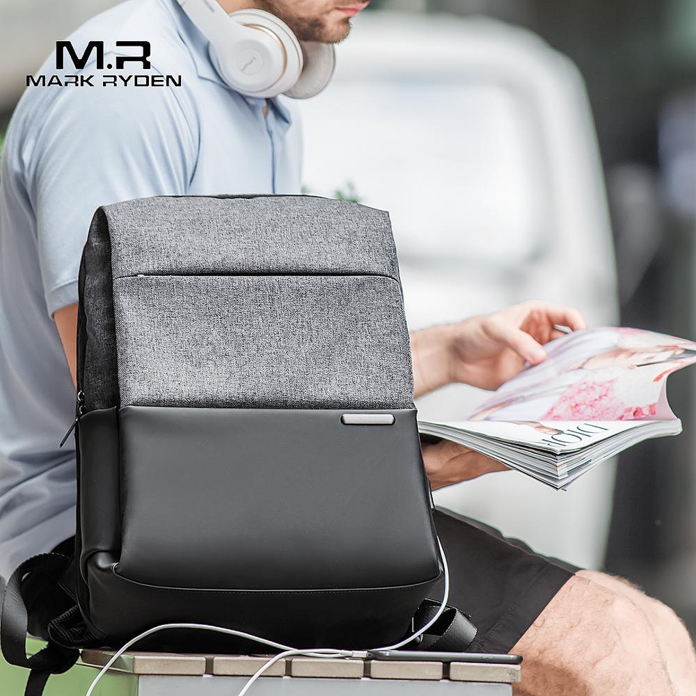 """Mark Ryden мужской рюкзак большой емкости для подростков, мужской рюкзак Mochila с защитой от воров, рюкзак для ноутбука с usb зарядкой 15,6 """", водонепроницаемый"""