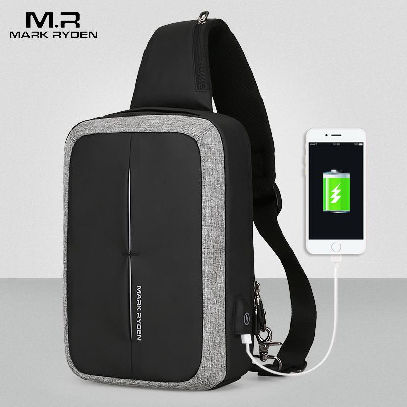 Mark Ryden, новинка, мужская сумка через плечо, деловая сумка на плечо, вместительная нагрудная сумка, USB подзарядка, дизайн