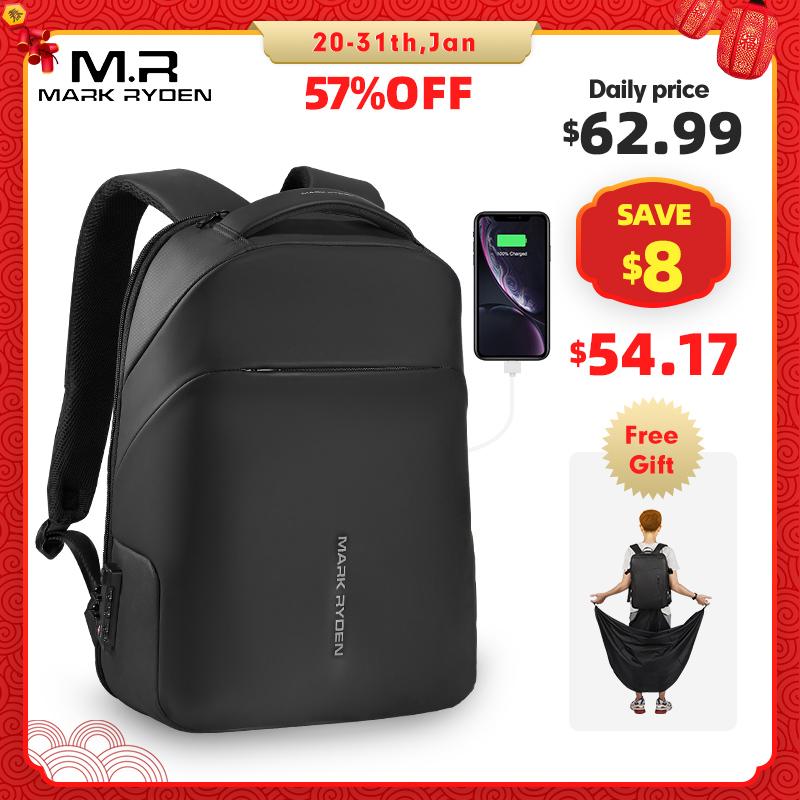 Mark Ryden, новый мужской рюкзак с защитой от воров, с замком TSA, водонепроницаемый плащ, 15,6 дюймов, сумка для ноутбука, школьная модная мужская дорожная сумка