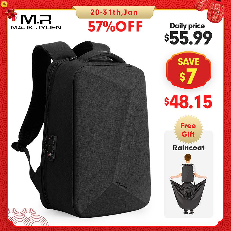 Mark Ryden, новый мужской рюкзак с защитой от воровства, с замком TSA, водонепроницаемый дождевик, 15,6 дюймов, сумка для ноутбука, мужская дорожная сумка