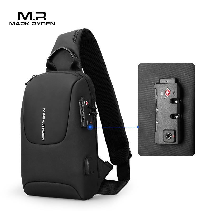 Mark Ryden TSA Lock, мужские сумки через плечо, водонепроницаемые, зарядка через usb, нагрудный пакет, Короткие походные мессенджеры, нагрудная сумка, сумка на плечо, Мужская on AliExpress